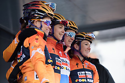 Jip van den Bos is presented to the crowds with her Boels Dolmans teammates at the 112.8 km Le Samyn des Dames on March 1st 2017, from Quaregnon to Dour, Belgium. (Photo by Sean Robinson/Velofocus)