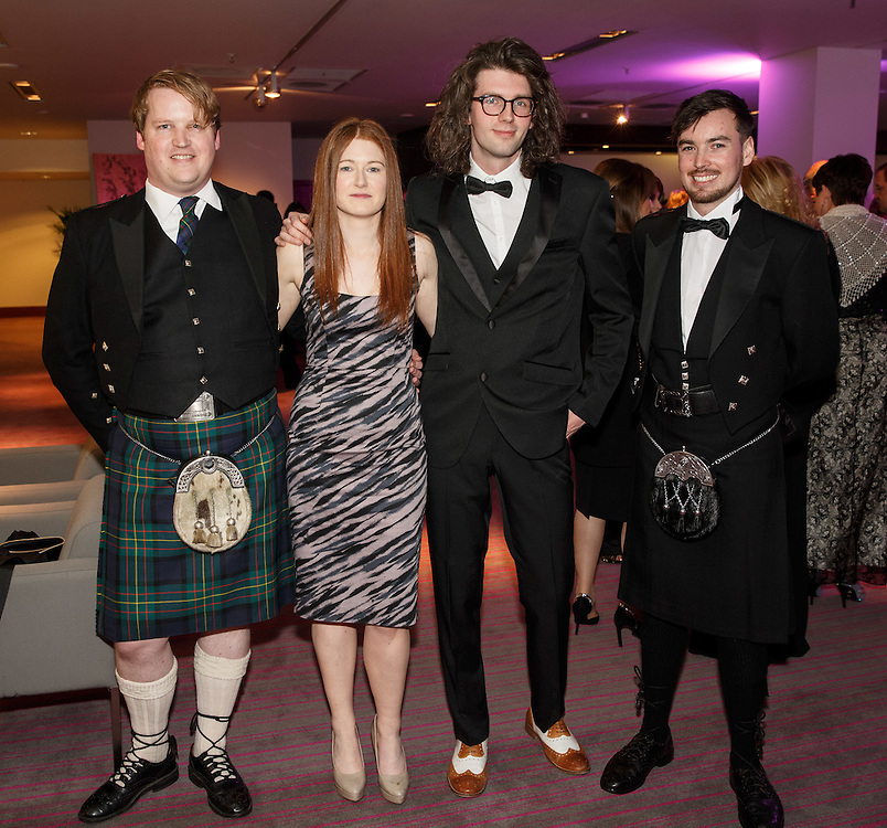 BNO Maggie's Spring Ball at Radisson Hotel Glasgow. L to R :  Iain Hind, Orla Daly, Ben Moore and Boyd Barber. Picture Robert Perry for The Herald and  Evening Times 23rd April 2016<br /> <br /> Must credit photo to Robert Perry<br /> <br /> FEE PAYABLE FOR REPRO USE<br /> FEE PAYABLE FOR ALL INTERNET USE<br /> www.robertperry.co.uk<br /> NB -This image is not to be distributed without the prior consent of the copyright holder.<br /> in using this image you agree to abide by terms and conditions as stated in this caption.<br /> All monies payable to Robert Perry<br /> <br /> (PLEASE DO NOT REMOVE THIS CAPTION)<br /> This image is intended for Editorial use (e.g. news). Any commercial or promotional use requires additional clearance. <br /> Copyright 2016 All rights protected.<br /> first use only<br /> contact details<br /> Robert Perry     <br /> 07702 631 477<br /> robertperryphotos@gmail.com<br />         <br /> Robert Perry reserves the right to pursue unauthorised use of this image . If you violate my intellectual property you may be liable for  damages, loss of income, and profits you derive from the use of this image.