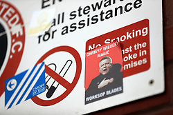 Sheffield United manager Chris Wilder on a sticker outside Bramall Lane, Sheffield.