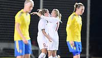 Fotball , 13. januar 2015 , privatkamp kvinner<br /> Norge- Sverige<br /> Norway - Sweden<br /> Isabell Herlovsen (tv) jubler med Kristine Minde , Norge
