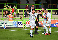 Football - 2020 / 2021 EFL League Two - Forest Green Rovers vs Bradford City<br /> <br /> Referee Will Finnie shows a red card to Bradford City's Paudie O'Connor (facing) after pushing Forest Green Rovers' Ebou Adams, at the New Lawn Stadium<br /> <br /> COLORSPORT/ASHLEY WESTERN