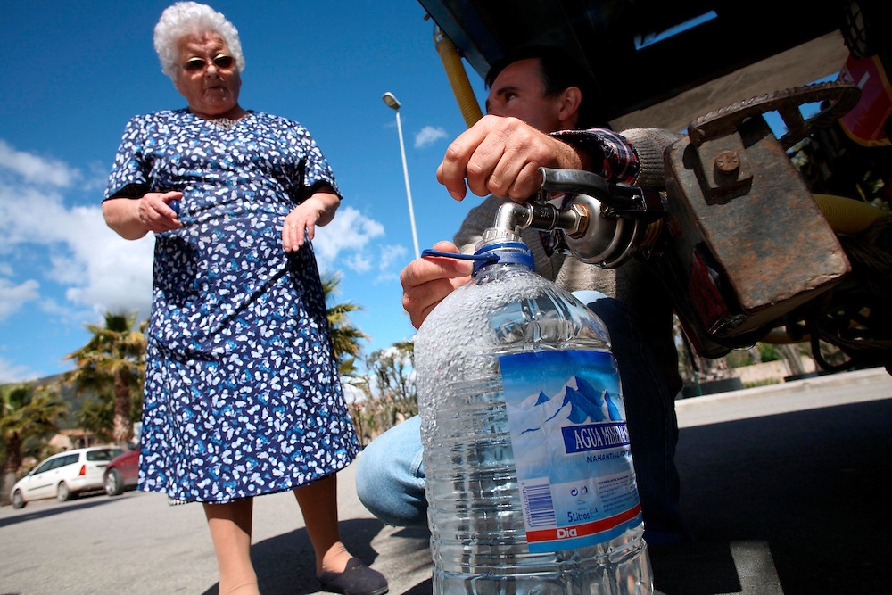 2007. Extreme drought in Catalonia. Potable water rationalization in the town of Angles, Girones. (Catalonia. Spain) due to the shortage because of the drought that whips Catalonia.