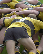 Reading, Berkshire, 29/09/02<br /> London Irish vs Wasps,<br /> The Scrum down, during the ZURICH PREMIERSHIP RUGBY match at the, Madejski Stadium,  [Mandatory Credit: Peter Spurrier/Intersport Images],