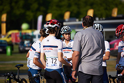 Cecilie Uttrup Ludwig (DEN) in the final team huddle before La Course by Le Tour de France 2018, a 112.5 km road race from Annecy to Le Grand Bornand, France on July 17, 2018. Photo by Sean Robinson/velofocus.com