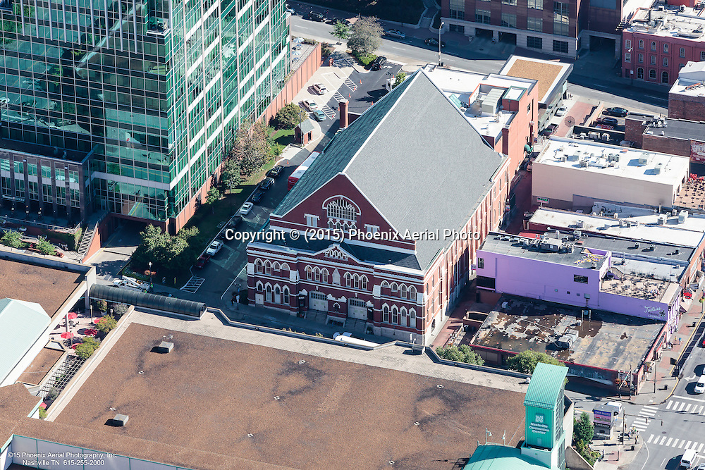 Aerial Photo Of The Ryman Auditorium Located In Nashville Tennessee.