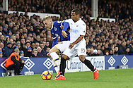 Gerard Deulofeu of Everton shields the ball from Wayne Routledge of Swansea City. Premier league match, Everton v Swansea city at Goodison Park in Liverpool, Merseyside on Saturday 19th November 2016.<br /> pic by Chris Stading, Andrew Orchard sports photography.