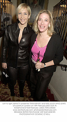 Left to right, sisters TV presenter TANIA BRYER  and MRS LESLEY KING-LEWIS,  at a party in London on 18th February 2001.	OLK 75