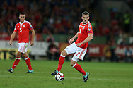 Andy King of Wales (c) in action.Wales v Austria , FIFA World Cup qualifier , European group D match at the Cardiff city Stadium in Cardiff , South Wales on Saturday 2nd September 2017. pic by Andrew Orchard, Andrew Orchard sports photography