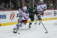 March 13, 2014 Rangers forward Mats Zuccarello (36) brings the puck out of the zone while Wild forward Charlie Coyle (3) gives chase during the second period at the Minnesota Wild game versus New York Rangers at Excel Energy Center in St. Paul MN. NHL Eishockey Herren USA MAR 13 Rangers at Wild <br /> Norway only