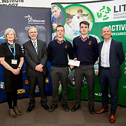 27.04.2016.          <br />  Kalin Foy and Ciara Coyle win SciFest@LIT<br /> Kalin Foy and Ciara Coyle from Colaiste Chiarain Croom to represent Limerick at Ireland's largest science competition.<br /> <br /> John The Baptist Community School students, Peter O' Regan and Seán McCarthy's project, Bigorexia: An investigation into make gym-goers and their self perception, was Intermed/senior third in the Life Sciences Category.  Peter O' Regan and Seán McCarthy are pictured with George Porter, SciFest and Brian Aherne, Intel<br /> <br /> Of the over 110 projects exhibited at SciFest@LIT 2016, the top prize on the day went to Kalin Foy and Ciara Coyle from Colaiste Chiarain Croom for their project, 'To design and manufacture wireless trailer lights'. The runner-up prize went to a team from John the Baptist Community School, Hospital with their project on 'Educating the Youth of Ireland about Farm Safety'.  Picture: Alan Place