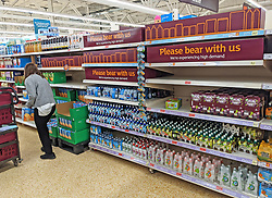 © Licensed to London News Pictures 20/09/2021. <br /> Sevenoaks, UK, Please bear with us signs at Sainsburys in Sevenoaks, Kent today. Supermarket shortages are continuing across the UK due to a lack of supply and a shortage of lorry drivers which is expected to get a lot worse over the next few months. Photo credit:Grant Falvey/LNP