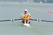 St Catherines, CANADA,  Men's Pair  AUS M2- bow. Drew GINN , James TOMKINS, Gold Medalist, competing,  1999 World Rowing Championships - Martindale Pond, Ontario. 08.1999..[Mandatory Credit; Peter Spurrier/Intersport-images]  . 1999 FISA. World Rowing Championships, St Catherines, CANADA