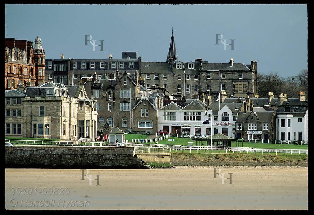 View from beach of Royal & Ancient Golf Club and various shops at the Old Course, St Andrews Links Scotland