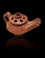 Bronze Age Anatolian terra cotta three spouted teapot - 19th to 17th century BC - Kültepe Kanesh - Museum of Anatolian Civilisations, Ankara, Turkey.  Against a black background. .<br /> <br /> If you prefer to buy from our ALAMY PHOTO LIBRARY  Collection visit : https://www.alamy.com/portfolio/paul-williams-funkystock/kultepe-kanesh-pottery.html<br /> <br /> Visit our ANCIENT WORLD PHOTO COLLECTIONS for more photos to download or buy as wall art prints https://funkystock.photoshelter.com/gallery-collection/Ancient-World-Art-Antiquities-Historic-Sites-Pictures-Images-of/C00006u26yqSkDOM