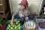 A vendor arranging fruit at Phsar Kandal morning market in Phnom Penh, the capital city of Cambodia. A large variety of local products are available for sale in fresh markets all over Cambodia, all being sold on small individual stalls.