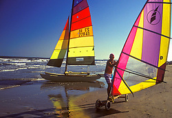 Windsurfers on the beach in South Padre, Texas