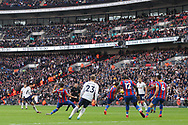 Son Heung-min of Tottenham Hotspur (L) shoots from outside the box and scores his team's first goal.. Premier league match, Tottenham Hotspur v Crystal Palace at Wembley Stadium in London on Sunday 5th November 2017.<br /> pic by Steffan Bowen, Andrew Orchard sports photography.