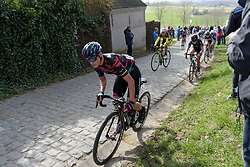 Barbara Guarischi gets out of the saddle as the top of Paterberg comes into view at Dwars door Vlaanderen 2017. A 114 km road race on March 22nd 2017, from Tielt to Waregem, Belgium. (Photo by Sean Robinson/Velofocus)