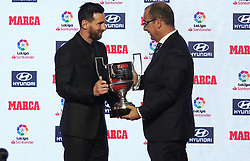 November 12, 2018 - Barcelona, Catalonia, Spain - Leo Messi receives the trophy as the top scorer of the 2017-18 League, which is awarded by Marca newspaper. on 12th November 2018 in Barcelona, Spain. (Credit Image: © Joan Valls/NurPhoto via ZUMA Press)