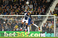 West Bromwich Albion forward Callum Robinson (7) heads the ball  during the EFL Sky Bet Championship match between West Bromwich Albion and Queens Park Rangers at The Hawthorns, West Bromwich, England on 24 September 2021.