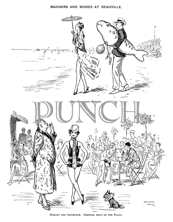 Manners and Modes at Deauville. The Exclusive Bather. Dignity and Impudence. Cocktail hour on the Plage.