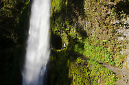 A young woman, sits on a metal safety cable and contemplates beautiful Tunnel Falls on Eagle Creek trail in the Columbia River Gorge, Oregon, USA.  Tunnel Falls received its name due to a tunnel being cut from the bedrock behind the falls so that hikers and trail runners can pass further up the gorge.  The trail becomes very narrow during this section and it is necessary to hold onto a safety cable. (Model Released)