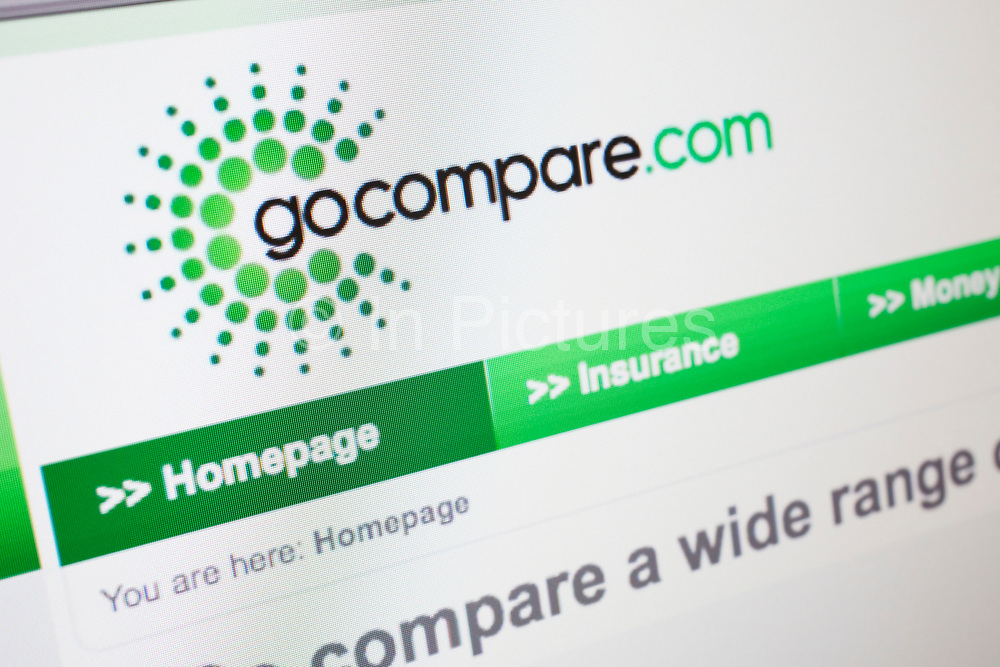 Computer screen showing the website for insurance, money and finance comparison site, Go Compare