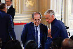 French football Federation president Noel Le Graet (L) and French national football team head coach Didier Deschamps during a Legion of Honour award ceremony for French 2018 football World Cup winners at the Elysee Palace in Paris, on June 4, 2019. Photo by Hamilton/pool/ABACAPRESS.COM