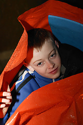 Fund raising event at St,Peter's church; Nottingham,  Young boy enjoying a charity sleep over event,