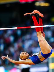 London, August 10 2017 . Inika McPherson, USA, in the Women's high jump qualifying on day seven of the IAAF London 2017 world Championships at the London Stadium. © Paul Davey.