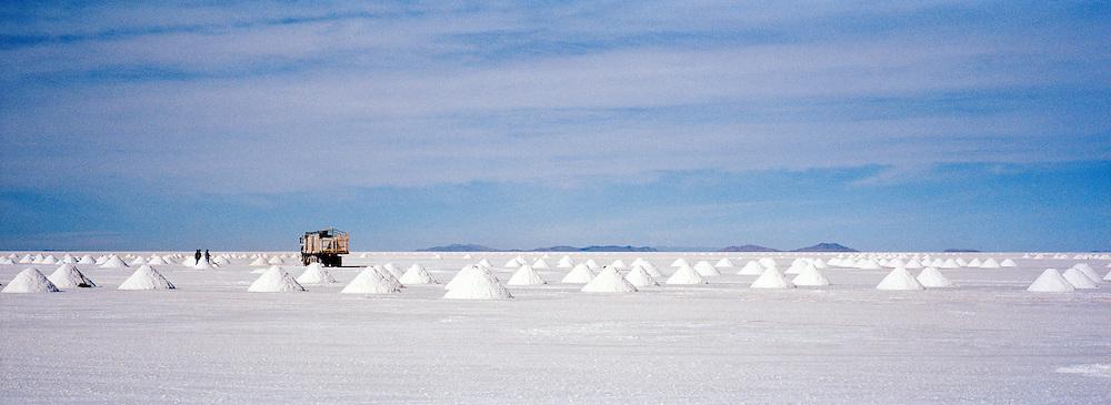 A Salt Mine on Salar de Uyuni salt flats, Bolivia. The Salar de Uyuni are the worlds largest salt flats.