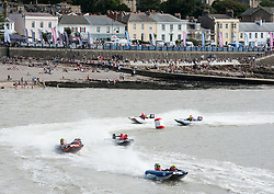 © Licensed to London News Pictures. 28/08/2016. Clevedon, North Somerset, UK. The Thundercats power boat race returns to Clevedon by the pier on the bank holiday weekend. Clevedon is hosting rounds 9 & 10 of the 2016 Microlink Thundercat racing Championships. The course is set to be fast and furious, testing teams' stamina and all-out speed with over 20 racing inflatables powered by 50hp outboard motors. Photo credit : Simon Chapman/LNP