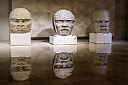 Colossal Olmec stone heads on display at the Museum of Anthropology in the historic center of Xalapa, Veracruz, Mexico. The Olmec civilization was the earliest known major Mesoamerican civilizations dating roughly from 1500 BCE to about 400 BCE.