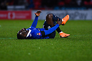 Christopher Missilou of Oldham Athletic (17) is down injured during the The FA Cup fourth round match between Doncaster Rovers and Oldham Athletic at the Keepmoat Stadium, Doncaster, England on 26 January 2019.