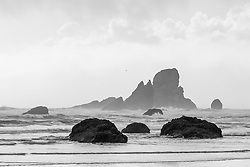 View toward Sea Lion Rock and Ecola Point from Crescent Beach, Ecola State Park, Oregon, USA.