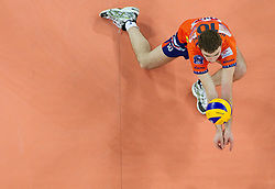 Uros Kovacevic of ACH during volleyball match between ACH Volley (SLO) and Jastrzebski Wegiel (POL) in 6th Round of 2011 CEV Champions League, on January 12, 2011 in Arena Stozice, Ljubljana, Slovenia. (Photo By Vid Ponikvar / Sportida.com)
