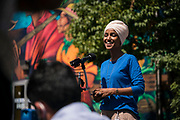 Representative Ilhan Omar, a Democrat from Minnesota, speaks with the media outside Mercado Central in Minneapolis, Minnesota, U.S., on Tuesday, Aug. 11, 2020. Photographer: Ben Brewer/Bloomberg