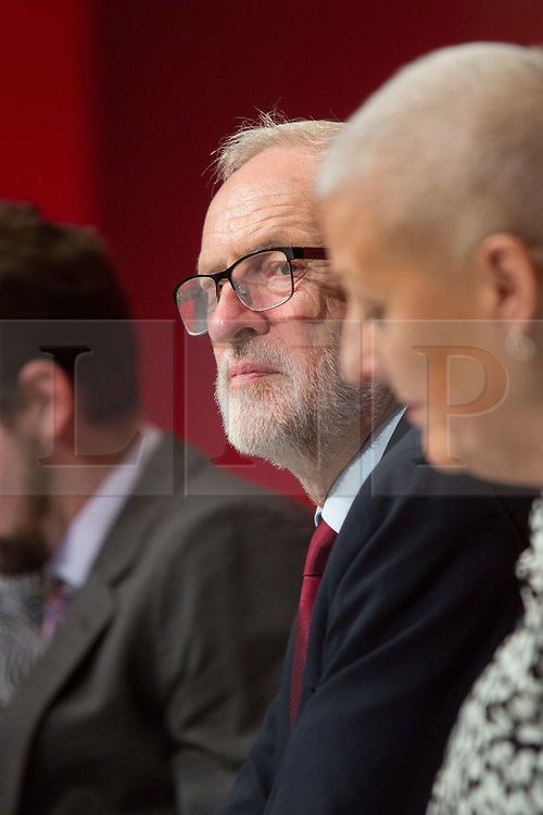 @Licensed to London News Pictures 21/09/2019. Brighton. Leader of the Labour Party takes his place on the stage for the opening day of the Labour Party Conference in Brighton. The conference will continue over the next 5 days. Photo credit: Manu Palomeque/LNP