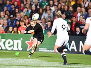 New Zealand player Kendra Cocksedge attempts the conversion of the second try but fails during the Women's Rugby World Cup 2017 match between England Women and New Zealand Women at Kingspan Stadium, Belfast, Northern Ireland on 26 August 2017. Photo by Ian  Muir.