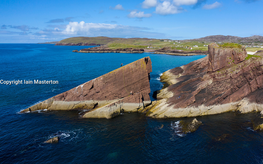 Aerial view of Split Rock at Clachtoll in Sutherland,  Highland Region of Scotland, UK