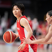 TOKYO, JAPAN August 8:   Nako Motohashi #15 of Japan defended by Sue Bird #6 of the United States during the Japan V USA basketball final for women at the Saitama Super Arena during the Tokyo 2020 Summer Olympic Games on August 8, 2021 in Tokyo, Japan. (Photo by Tim Clayton/Corbis via Getty Images)