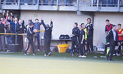 Alloa Athletic's bench at the end.<br /> Alloa Athletic 2 v 1 Hibernian, Scottish Championship game played 30/8/2014 at Alloa Athletic's home ground, Recreation Park, Alloa.