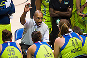 Dallas Wings head coach Fred Williams has words for his team during a timeout against the Connecticut Sun during a WNBA preseason game in Arlington, Texas on May 8, 2016.  (Cooper Neill for The New York Times)