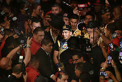 6-9-18. Los Angeles, CA. Leo Santa Cruze makes his way to the ring  at Staples Center Saturday. Leo Santa Cruze  took the win by  unanimous decision over Abner Mares for the WBA featherweight title and WBC diamond tile on showtime. Photo by Gene Blevins/LA DailyNews/SCNG/ZumaPress (Credit Image: © Gene Blevins via ZUMA Wire)