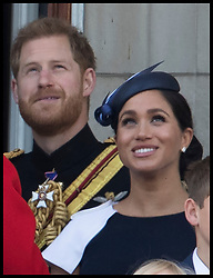 June 8, 2019 - London, London, United Kingdom - Image licensed to i-Images Picture Agency. 08/06/2019. London, United Kingdom. Prince Harry and Meghan Markle, The Duke and Duchess of Sussex  on the balcony of Buckingham Palace at Trooping the Colour in London. (Credit Image: © Stephen Lock/i-Images via ZUMA Press)
