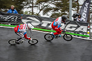 #145 (MALYSHENKOV Pavel) RUS and #707 (KOMAROV Evgeny) RUS at Round 6 of the 2018 UCI BMX Superscross World Cup in Zolder, Belgium