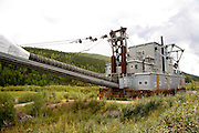 Dredge No. 4, the largest wodden hull bucket-line dredge in North America near the historic gold rush town of Dawson City, Yukon Territory, Canada.