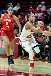 NORMAL, IL - December 04: Viria Livingston cuts to lose Nieja Crawford during a college women's basketball game between the ISU Redbirds  and the Austin Peay Governors on December 04 2018 at Redbird Arena in Normal, IL. (Photo by Alan Look)