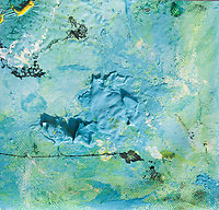 abstract blue sea sink hole with green,yellow and white streaks