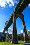 USA, Oregon, Portland, Cathedral Park, bridge showing decay of St. John's Bridge.